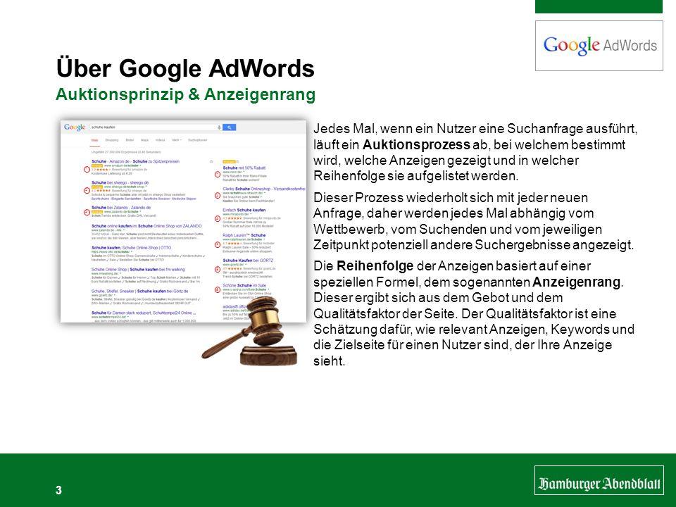 Über Google AdWords Auktionsprinzip & Anzeigenrang