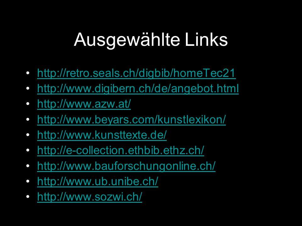Ausgewählte Links http://retro.seals.ch/digbib/homeTec21