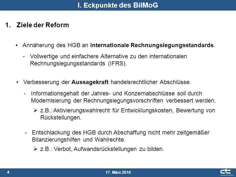 I. Eckpunkte des BilMoG 1. Ziele der Reform
