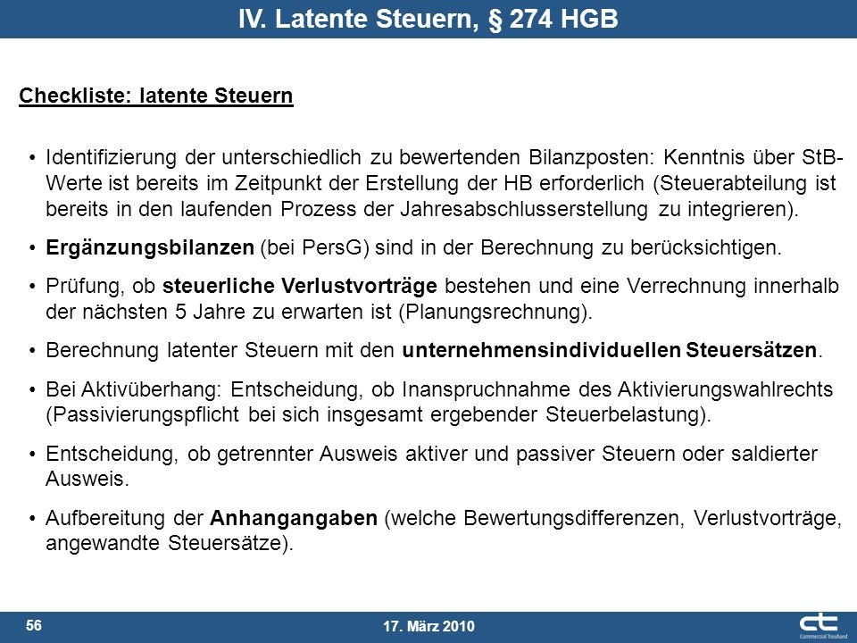 IV. Latente Steuern, § 274 HGB