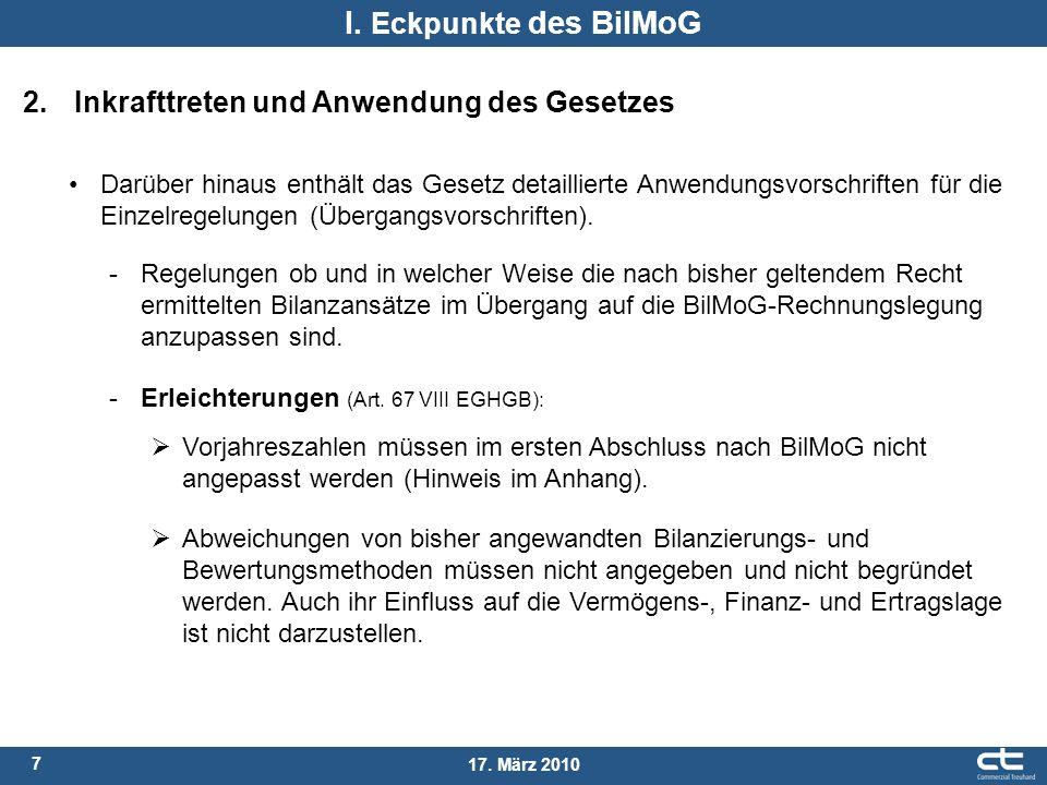 I. Eckpunkte des BilMoG 2. Inkrafttreten und Anwendung des Gesetzes