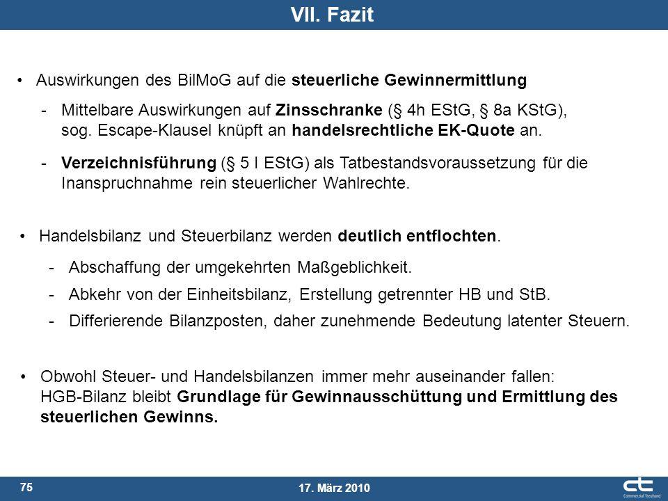 VII. Fazit Auswirkungen des BilMoG auf die steuerliche Gewinnermittlung.
