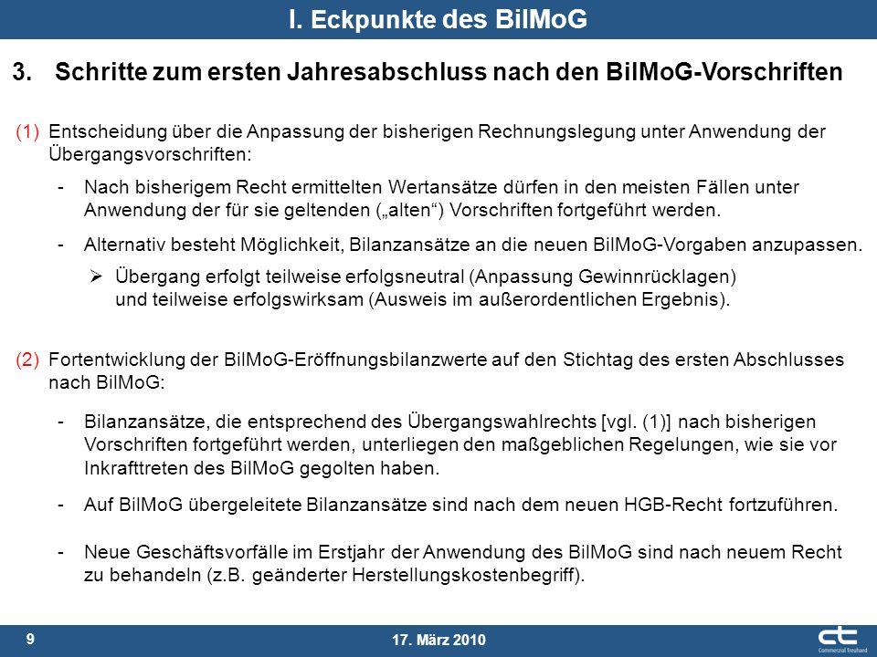 I. Eckpunkte des BilMoG 3. Schritte zum ersten Jahresabschluss nach den BilMoG-Vorschriften.