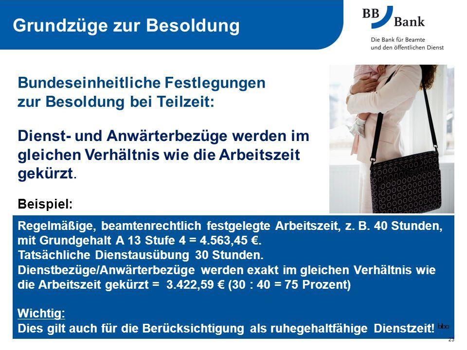 Bundeseinheitliche Festlegungen zur Besoldung bei Teilzeit: