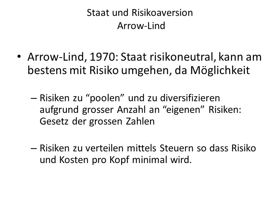 Staat und Risikoaversion Arrow-Lind