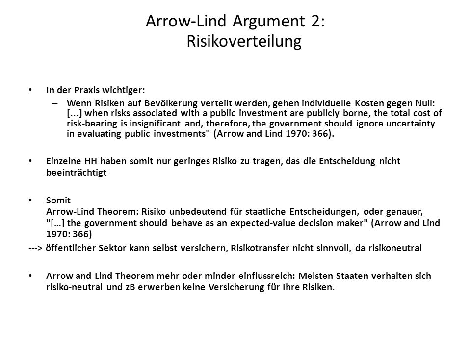 Arrow-Lind Argument 2: Risikoverteilung