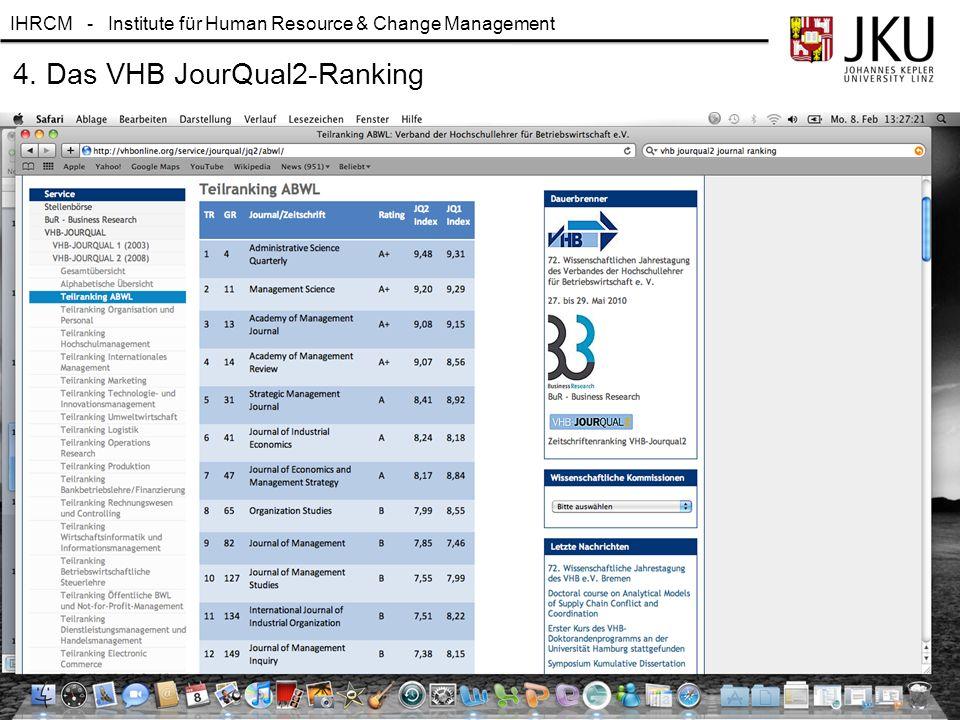 4. Das VHB JourQual2-Ranking