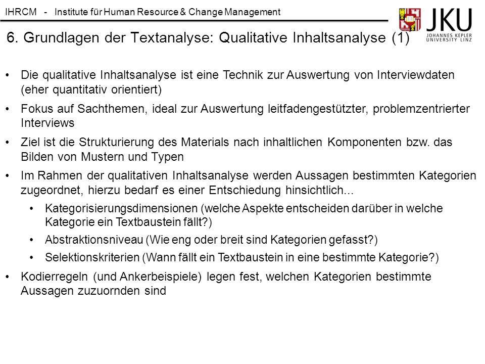 6. Grundlagen der Textanalyse: Qualitative Inhaltsanalyse (1)