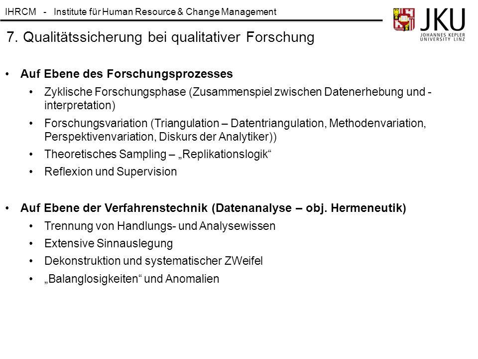 7. Qualitätssicherung bei qualitativer Forschung
