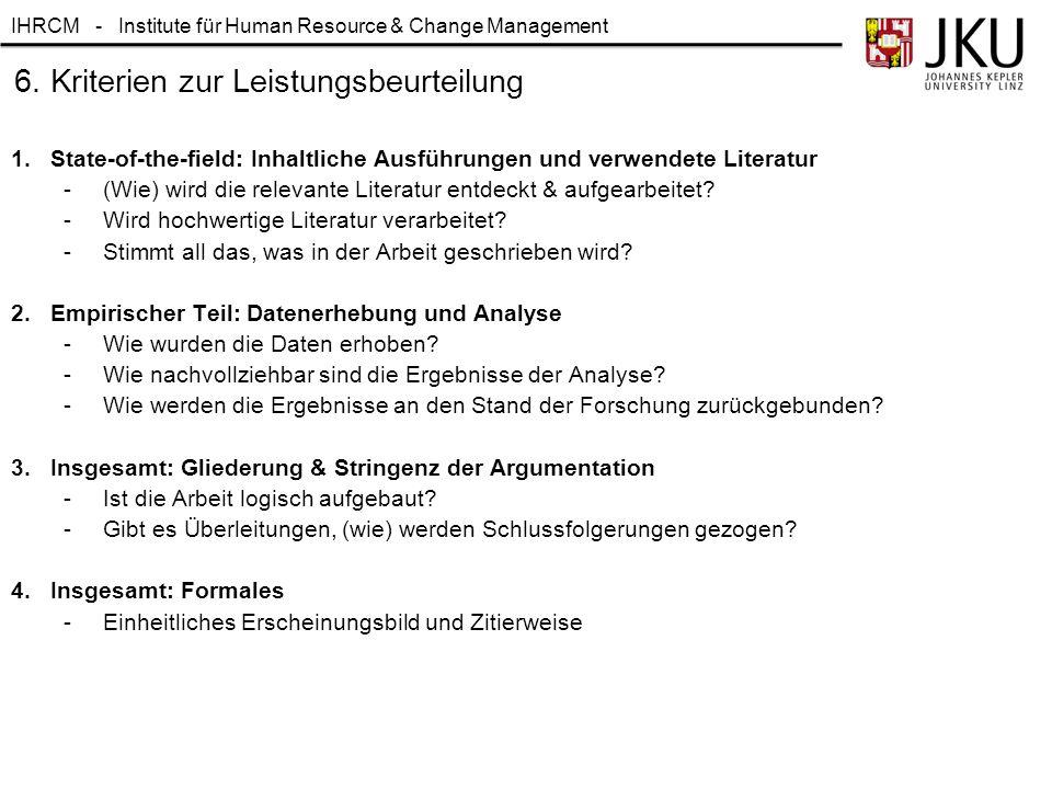 6. Kriterien zur Leistungsbeurteilung