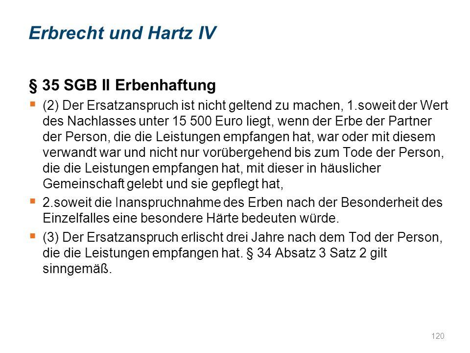 Erbrecht und Hartz IV § 35 SGB II Erbenhaftung