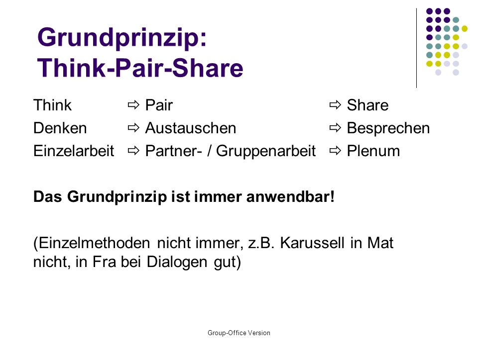 Grundprinzip: Think-Pair-Share
