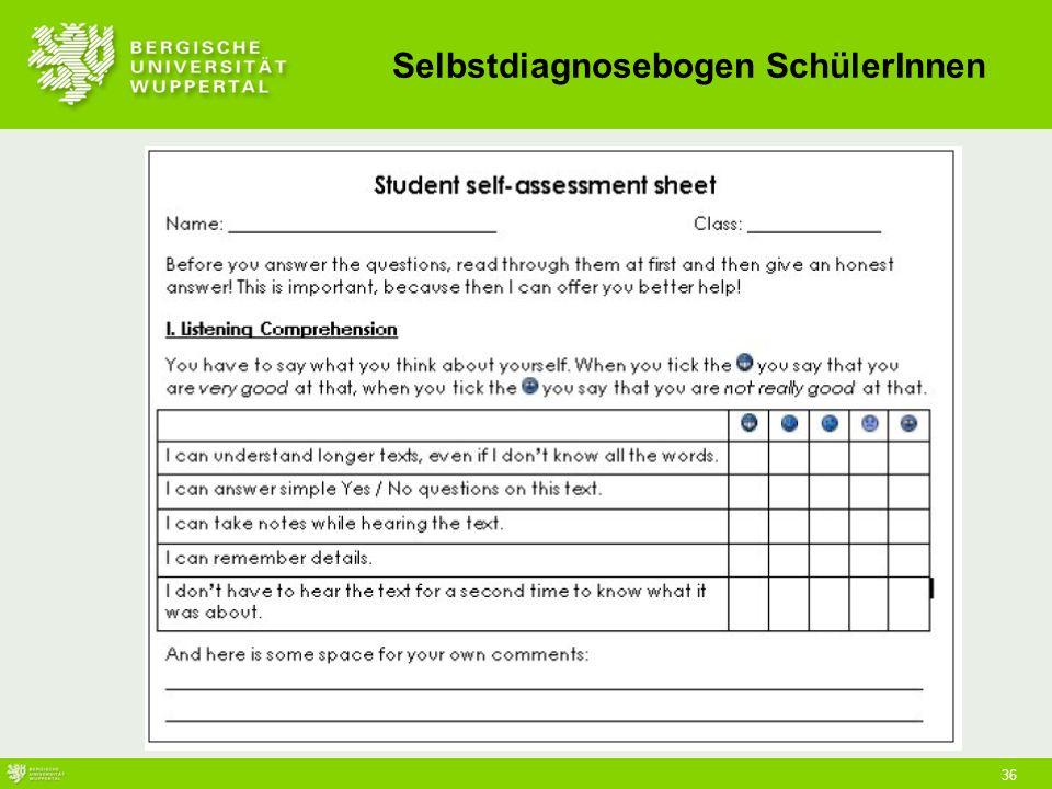 Selbstdiagnosebogen SchülerInnen