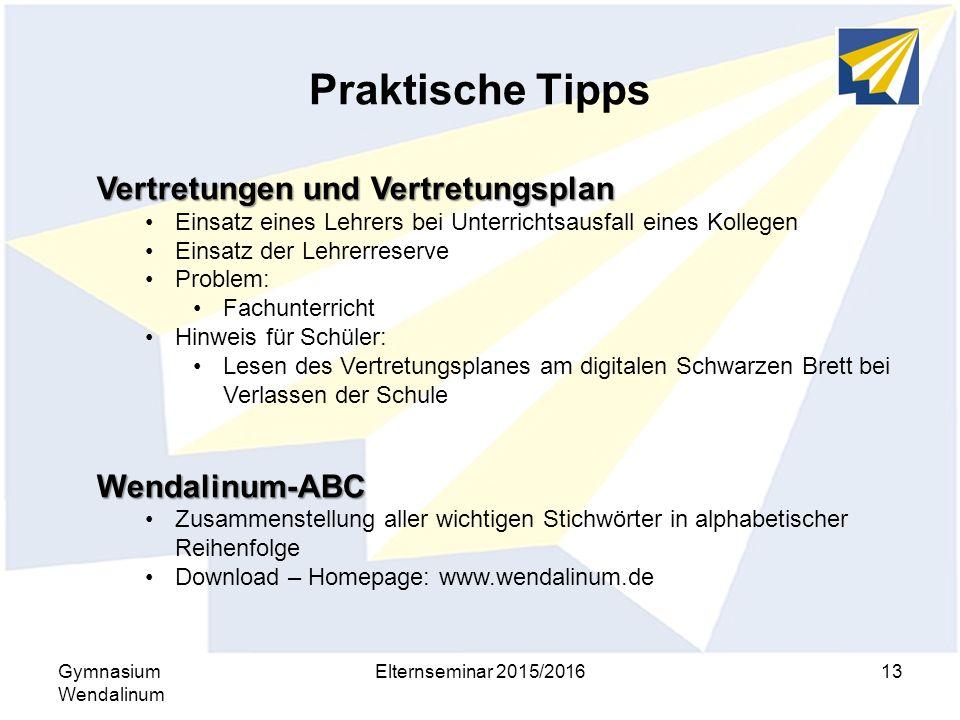 Praktische Tipps Vertretungen und Vertretungsplan Wendalinum-ABC