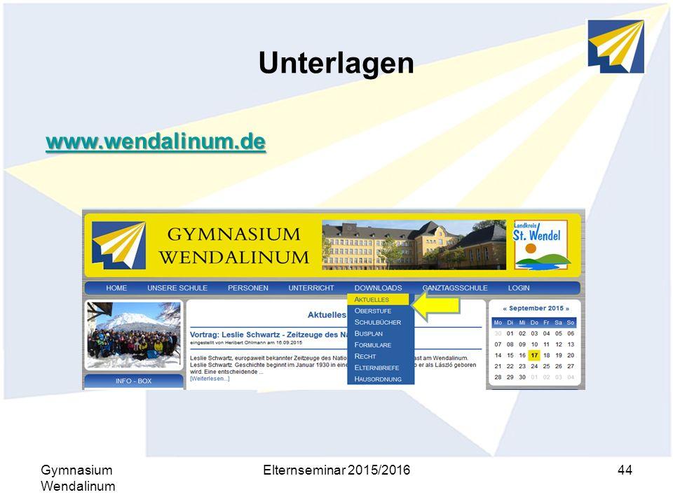 Unterlagen www.wendalinum.de Gymnasium Wendalinum