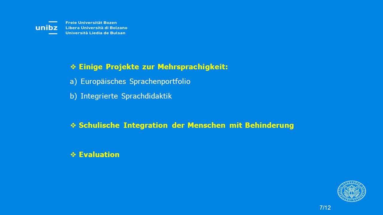 Einige Projekte zur Mehrsprachigkeit: Europäisches Sprachenportfolio