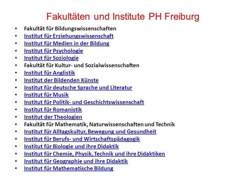 Fakultäten und Institute PH Freiburg