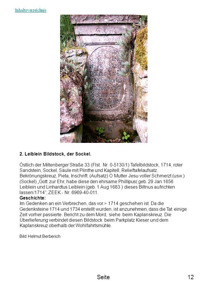 Seite 2. Leiblein Bildstock, der Sockel.