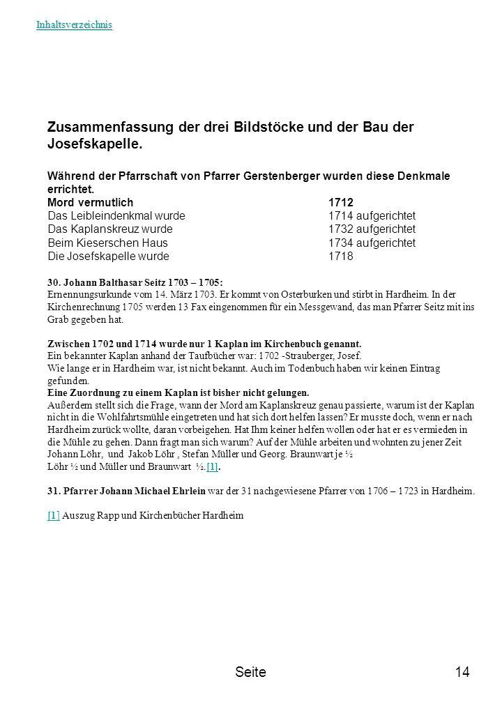 Zusammenfassung der drei Bildstöcke und der Bau der Josefskapelle.