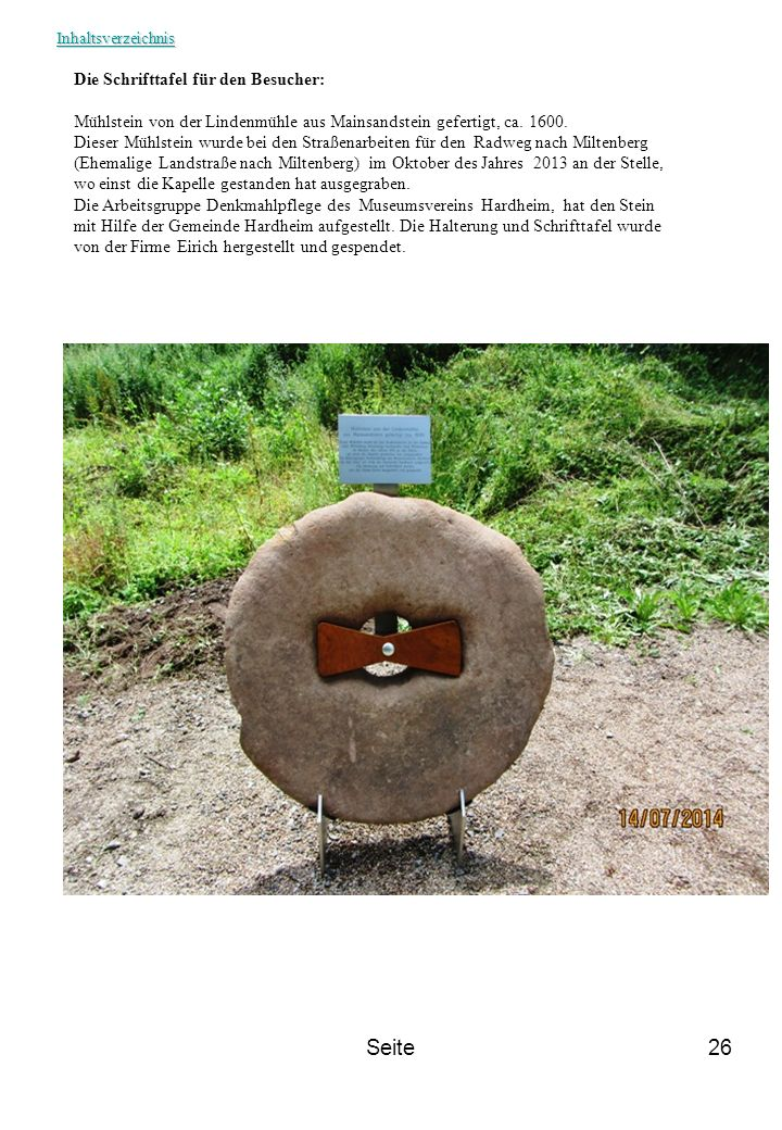 Seite Die Schrifttafel für den Besucher: