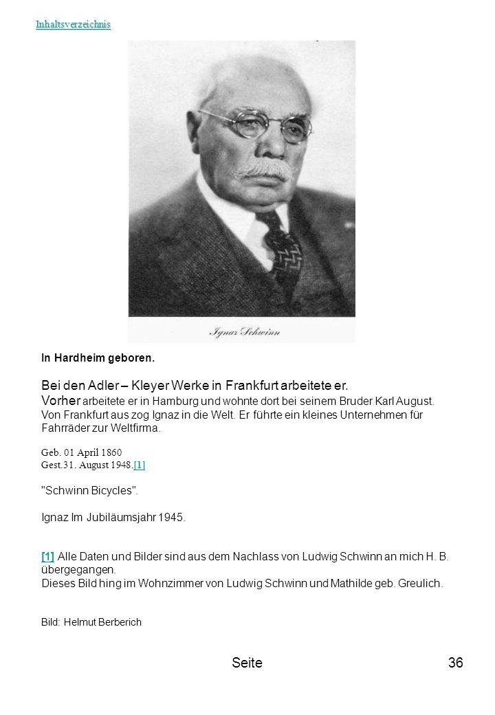 Seite Bei den Adler – Kleyer Werke in Frankfurt arbeitete er.