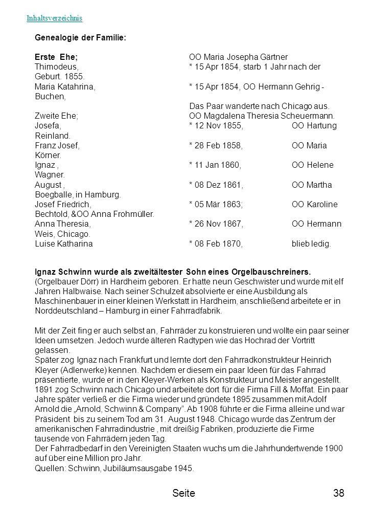 Seite Genealogie der Familie: Erste Ehe; OO Maria Josepha Gärtner