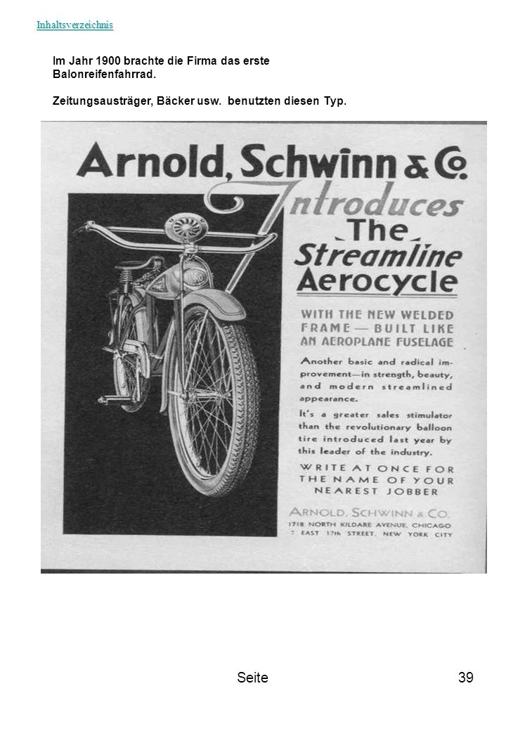 Seite Im Jahr 1900 brachte die Firma das erste Balonreifenfahrrad.
