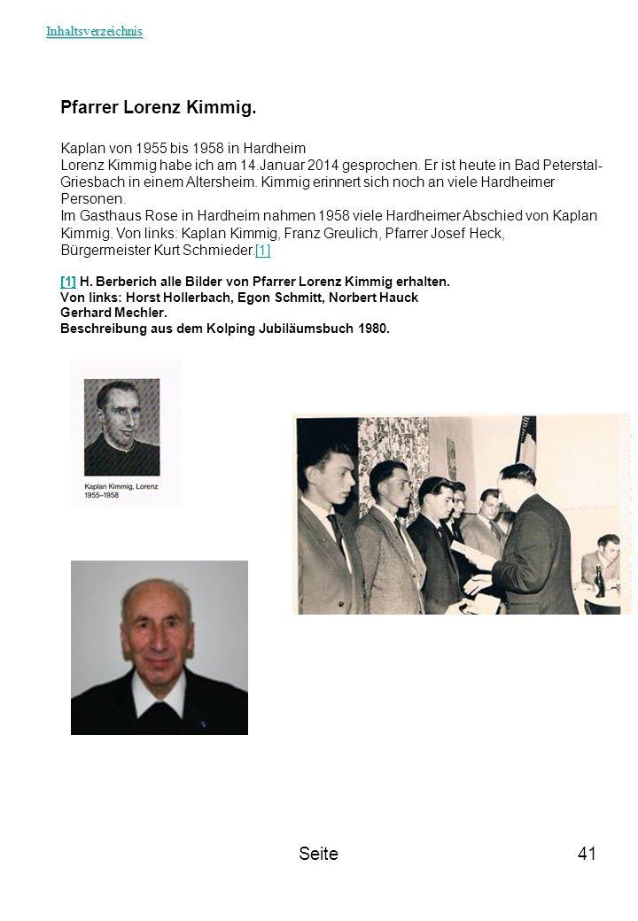 Pfarrer Lorenz Kimmig. Seite Kaplan von 1955 bis 1958 in Hardheim