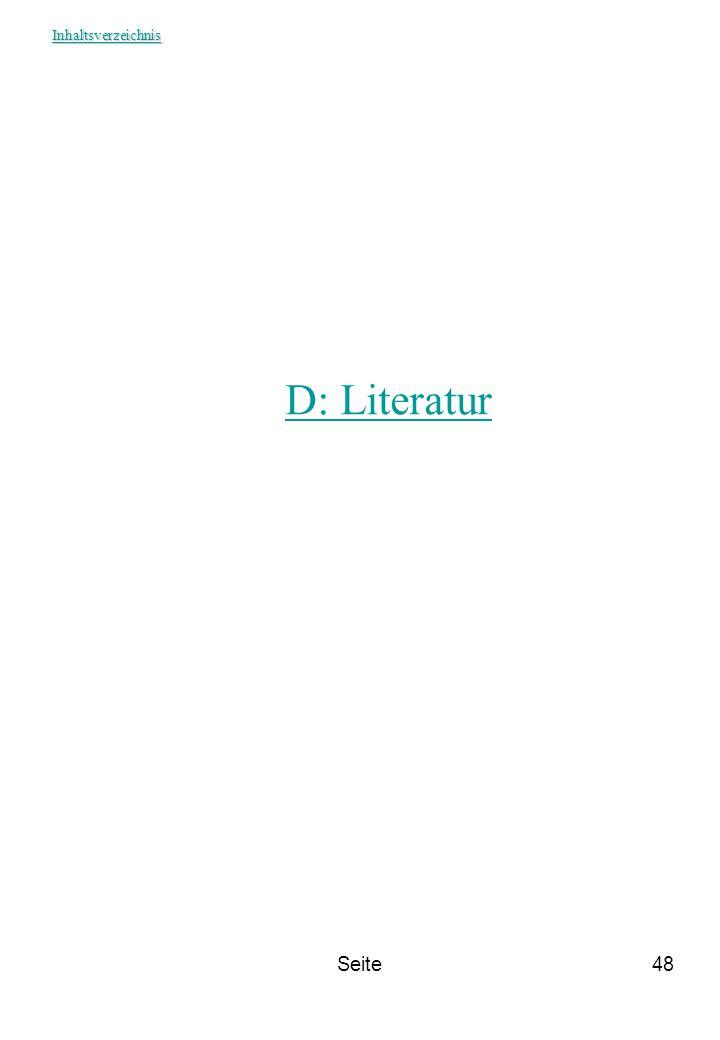 Inhaltsverzeichnis D: Literatur Seite