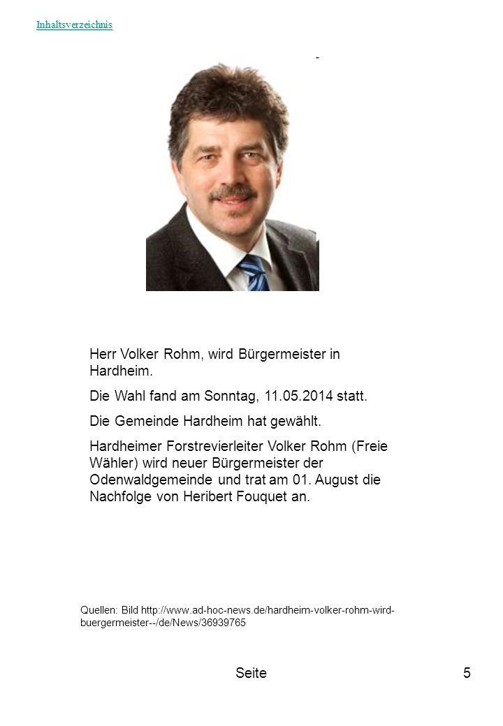 Herr Volker Rohm, wird Bürgermeister in Hardheim.