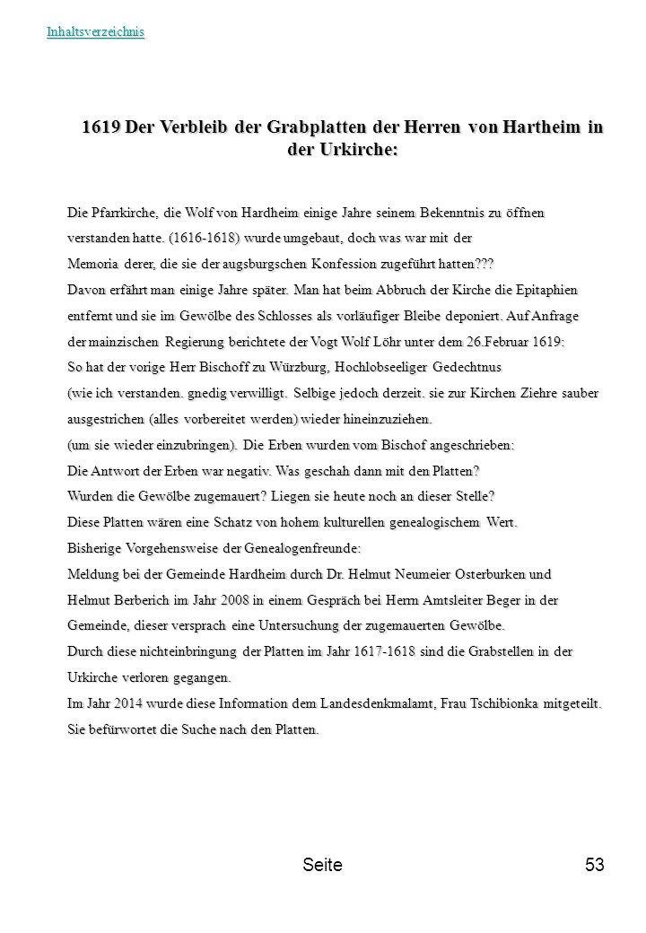 Inhaltsverzeichnis 1619 Der Verbleib der Grabplatten der Herren von Hartheim in der Urkirche: