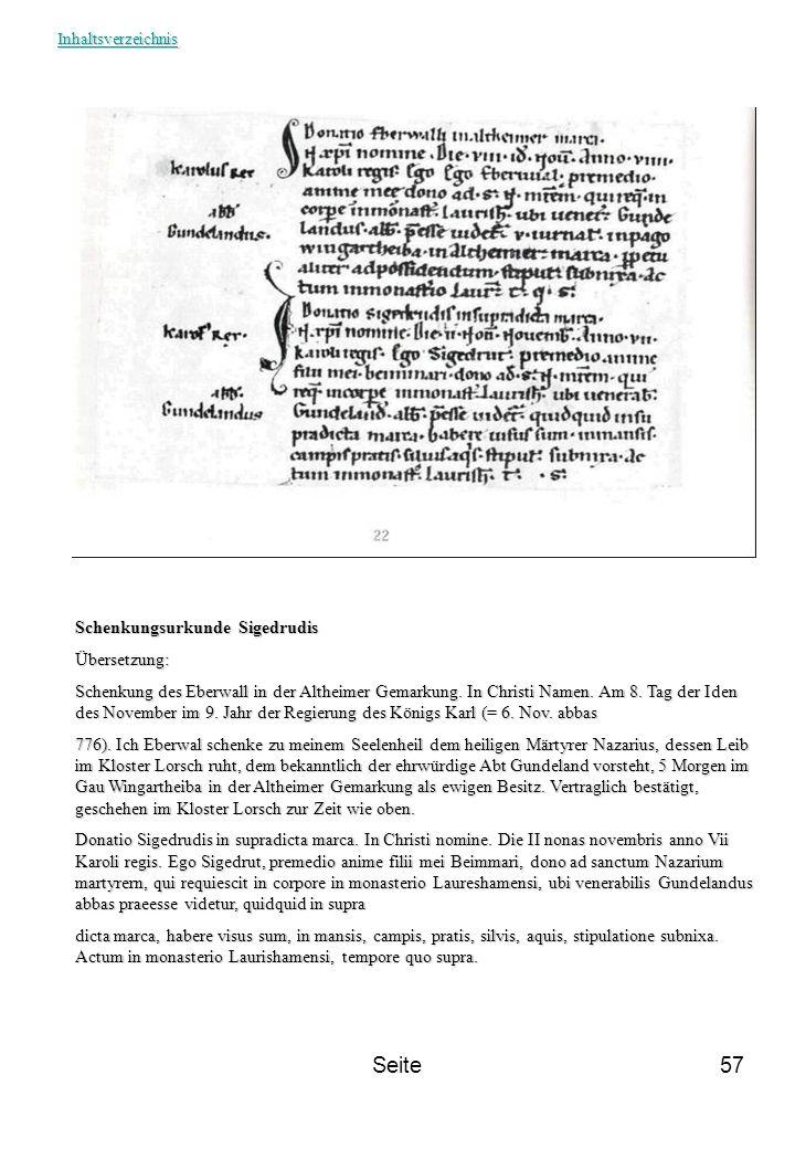 Seite Schenkungsurkunde Sigedrudis Übersetzung: