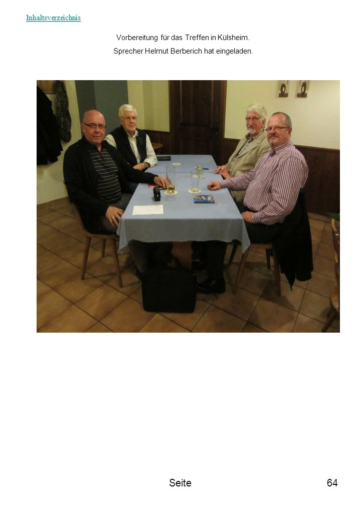 Seite Inhaltsverzeichnis Vorbereitung für das Treffen in Külsheim.