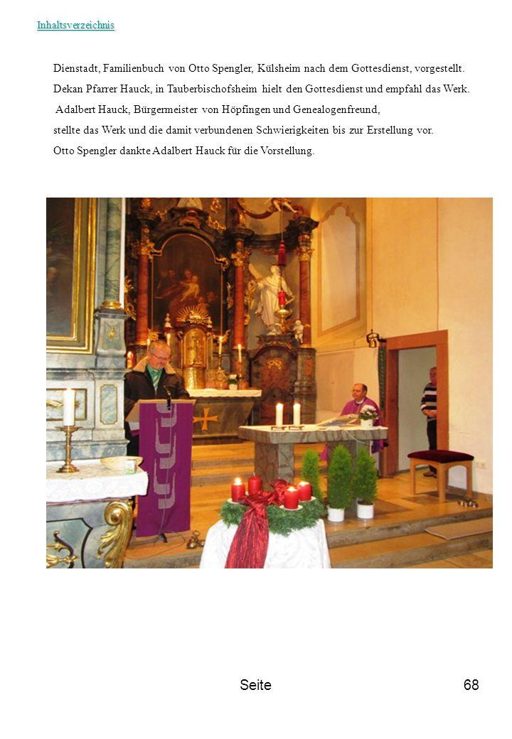 Inhaltsverzeichnis Dienstadt, Familienbuch von Otto Spengler, Külsheim nach dem Gottesdienst, vorgestellt.