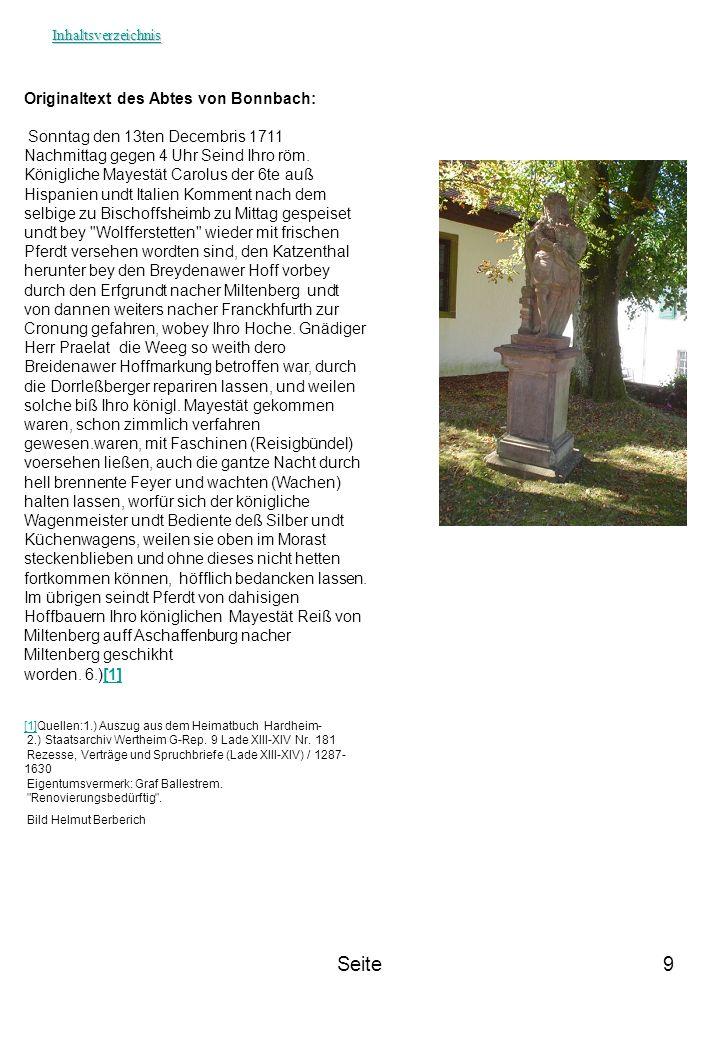 Seite Originaltext des Abtes von Bonnbach: