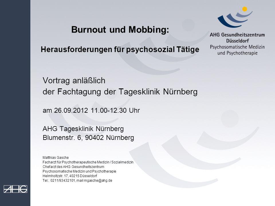 Burnout und Mobbing: Herausforderungen für psychosozial Tätige