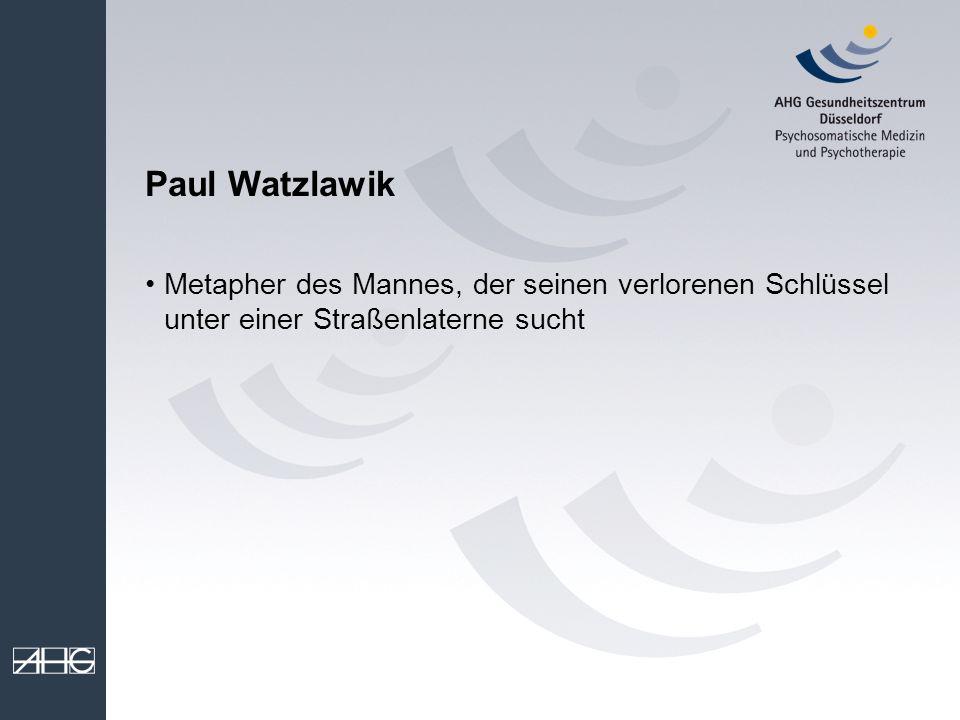 Paul Watzlawik Metapher des Mannes, der seinen verlorenen Schlüssel unter einer Straßenlaterne sucht.