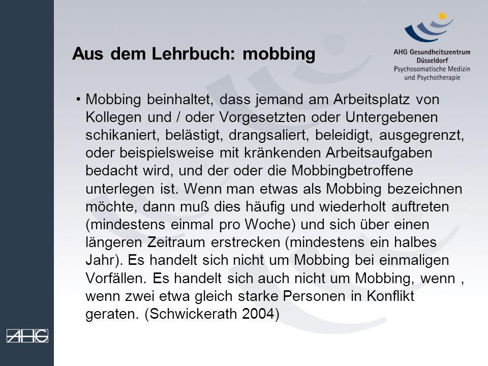 Aus dem Lehrbuch: mobbing