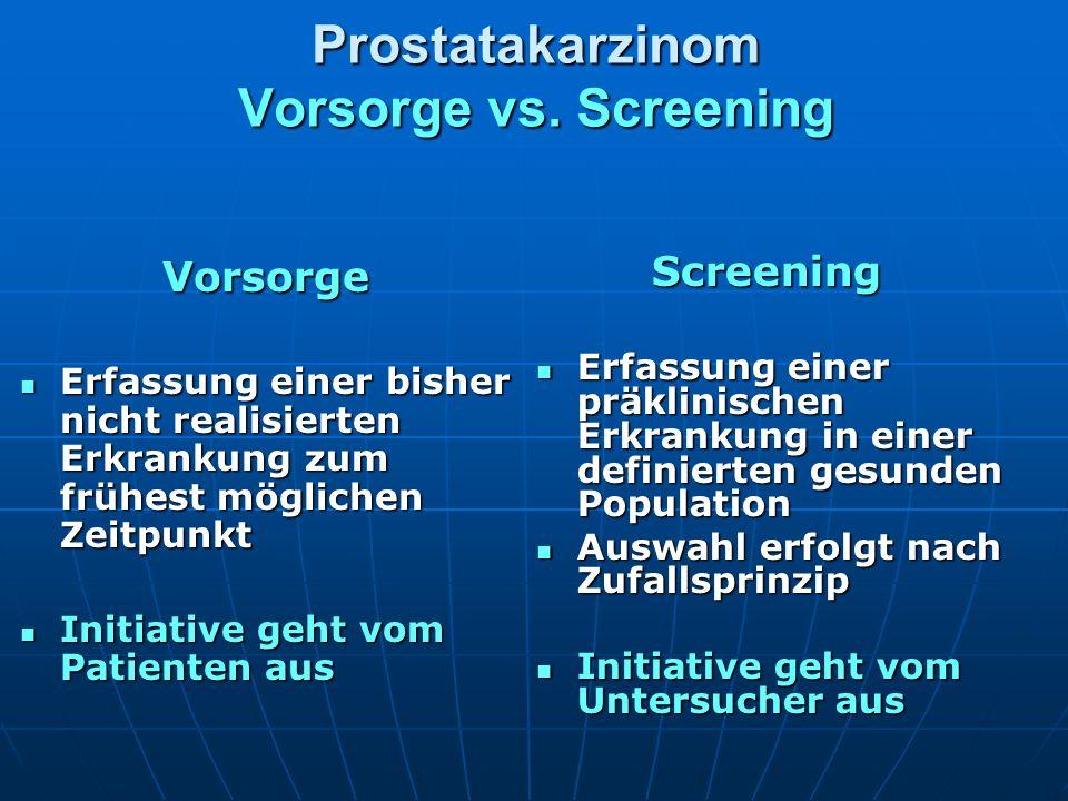 Prostatakarzinom Vorsorge vs. Screening