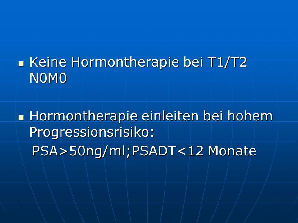 Keine Hormontherapie bei T1/T2 N0M0