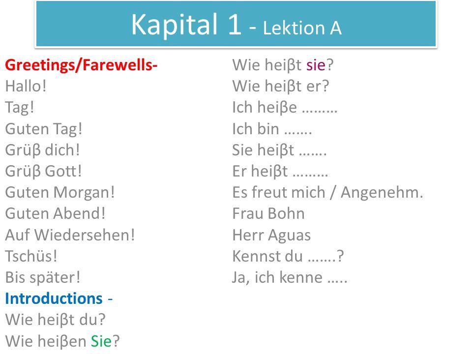 Kapital 1 - Lektion A Greetings/Farewells- Wie heiβt sie Hallo!