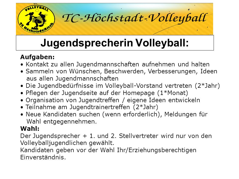 Jugendsprecherin Volleyball: