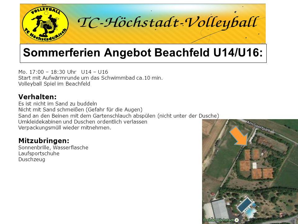 Sommerferien Angebot Beachfeld U14/U16: