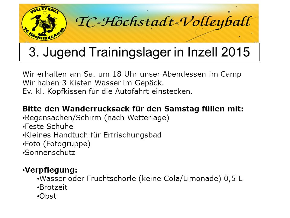 3. Jugend Trainingslager in Inzell 2015