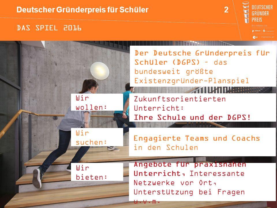Das spiel 2016 Der Deutsche Gründerpreis für Schüler (DGPS) – das bundesweit größte Existenzgründer-Planspiel.