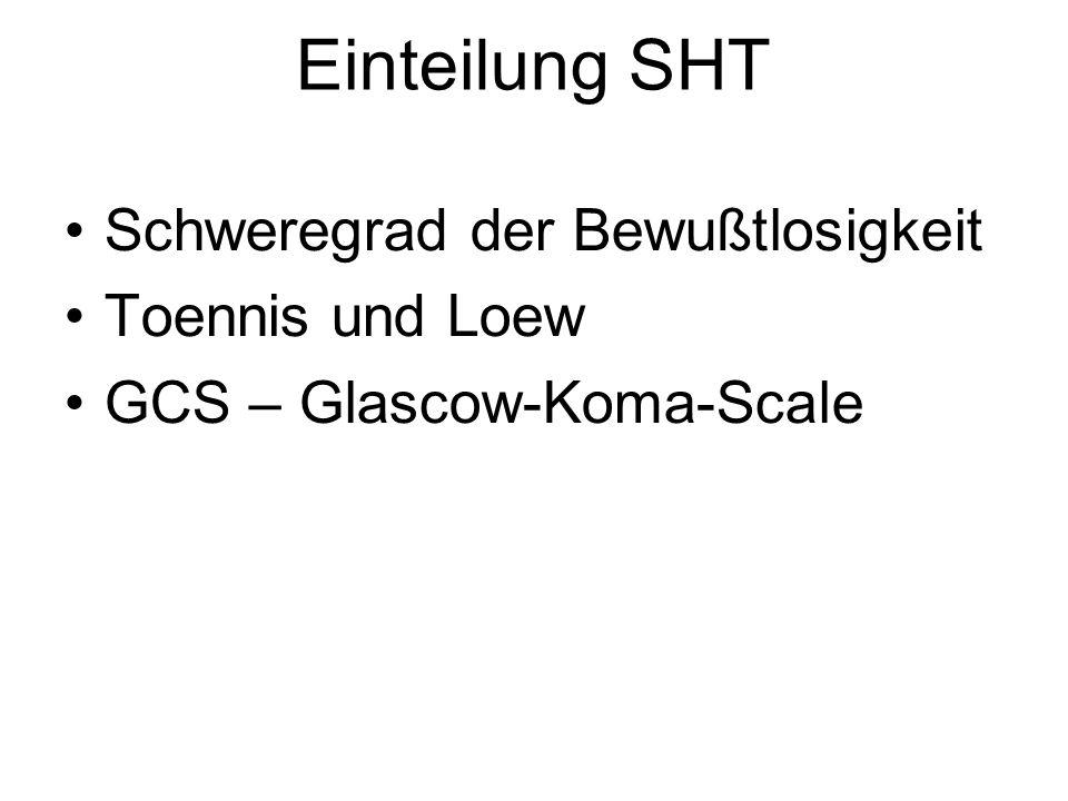 Einteilung SHT Schweregrad der Bewußtlosigkeit Toennis und Loew
