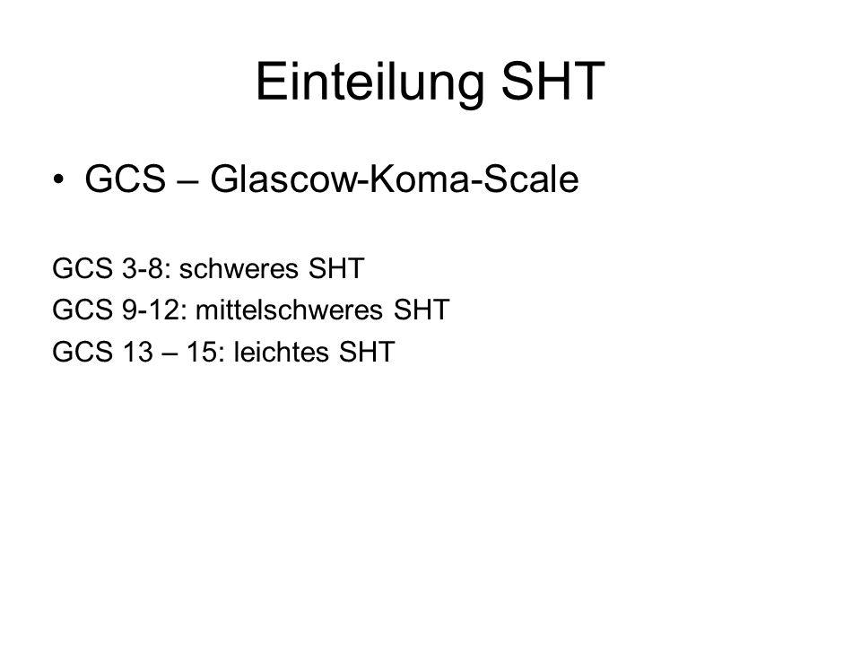 Einteilung SHT GCS – Glascow-Koma-Scale GCS 3-8: schweres SHT