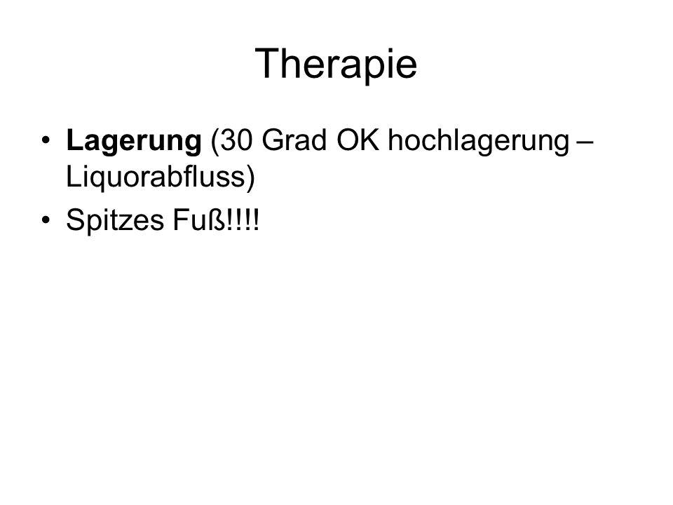 Therapie Lagerung (30 Grad OK hochlagerung – Liquorabfluss)