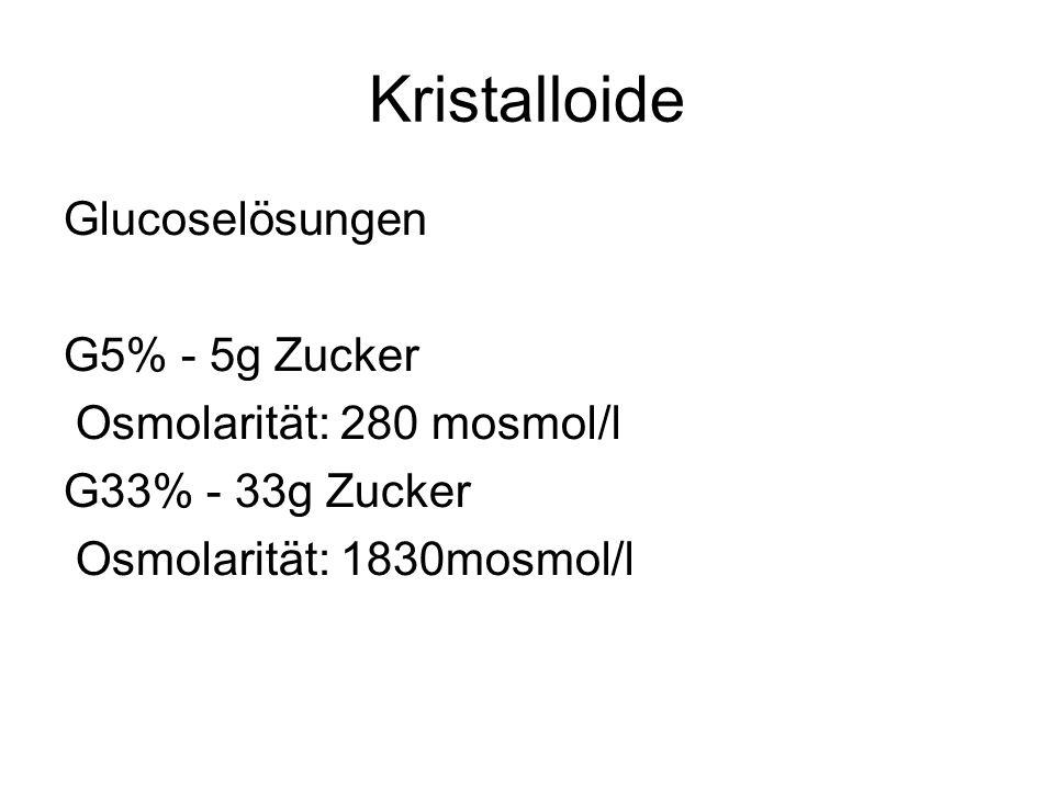 Kristalloide Glucoselösungen G5% - 5g Zucker Osmolarität: 280 mosmol/l