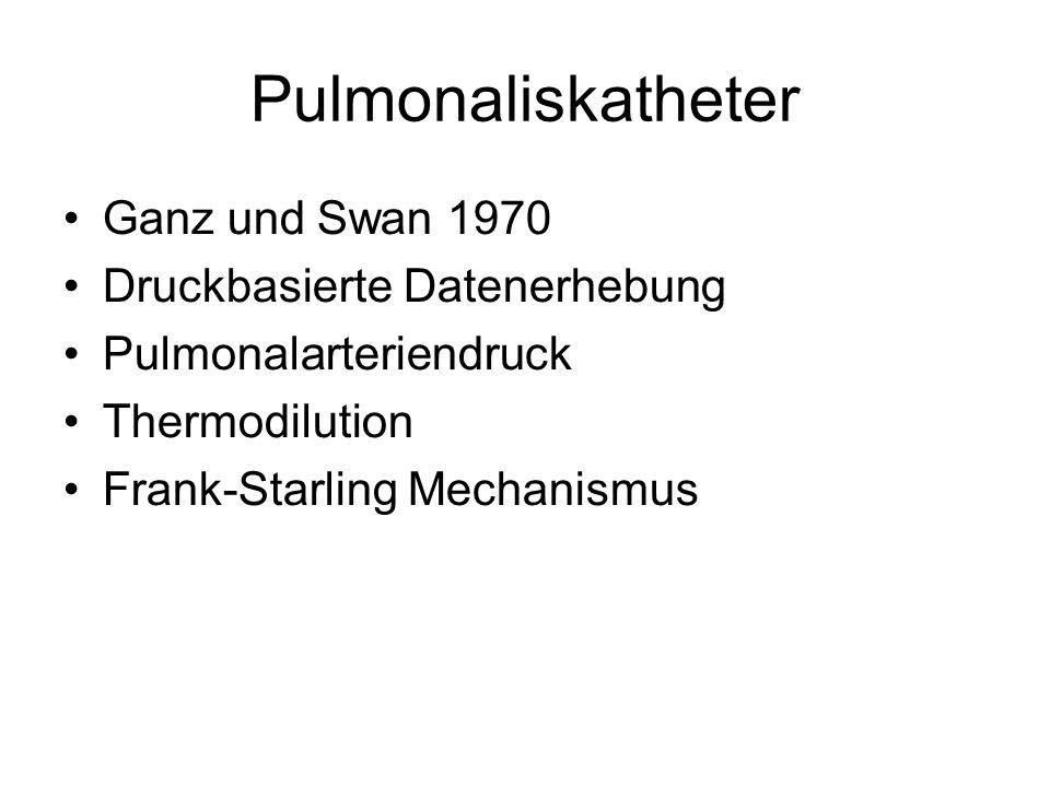 Pulmonaliskatheter Ganz und Swan 1970 Druckbasierte Datenerhebung